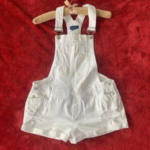 Blue Spice White Overall Shorts Distressed Size 11
